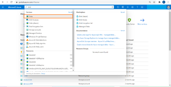 Dropdown - From Azure portal search for disks
