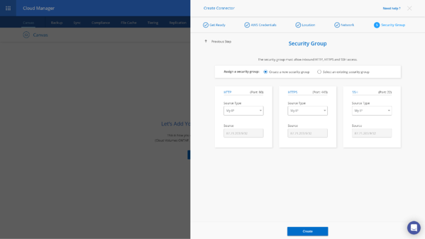 Create Connector - Security Group