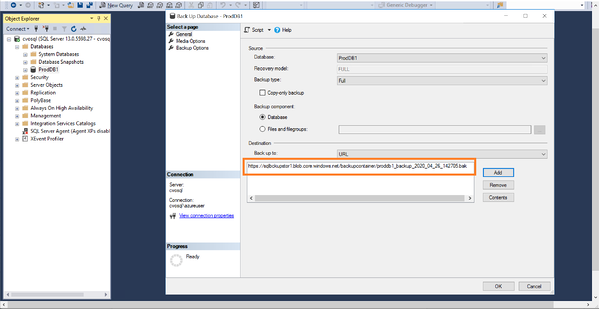 he Azure storage container location for the backup file is listed in the wizard