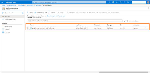 the storage section in the Azure portal