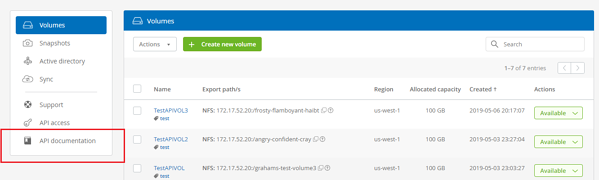 •You can access the Cloud Volumes as a Service API webpage, which is also accessible from your main Cloud Orchestrator UI.