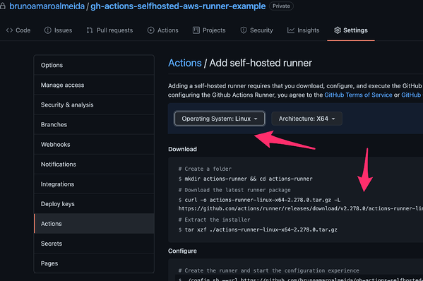 Adding a self-hosted runner in GitHub Actions settings