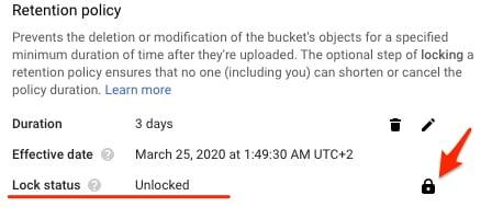 Google Cloud Storage Bucket details
