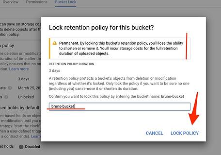 Lock retention policy for this buckets?