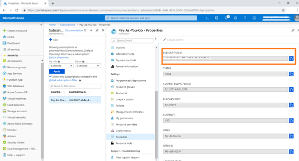 Your Azure subscription ID can be found in Azure portal > Subscriptions > your subscription name > Properties. Copy the subscription id you find there