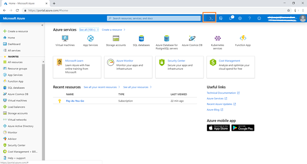 Click on Azure Cloud Shell in the Azure portal