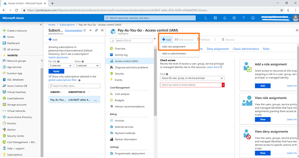 "In the Azure portal go to Subscriptions > Select your subscription > Access control (IAM). Click ""+Add"" and select ""Add role assignment"" from the drop-down menu"