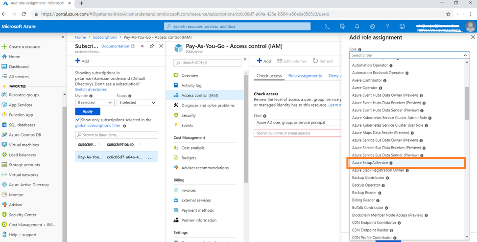 "From the Roles drop down list, select the ""Azure SetupAsService"" role we created in Step 8 from the"