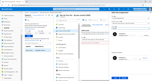 "Search for the Azure user account that you want to use to deploy NetApp Cloud Manager and click on ""Save"" to complete the role assignment"