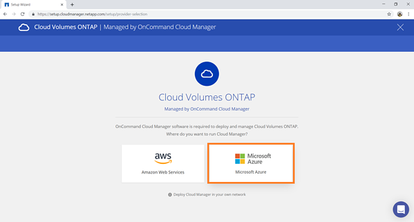Select Microsoft Azure to run the Cloud Manager