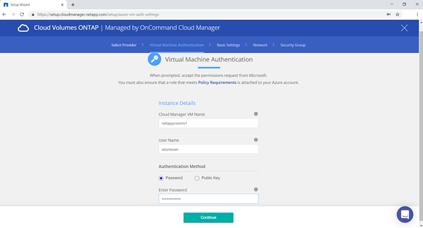 "Provide a name for the Cloud Manager VM, a username, and password. Click on ""Continue"""