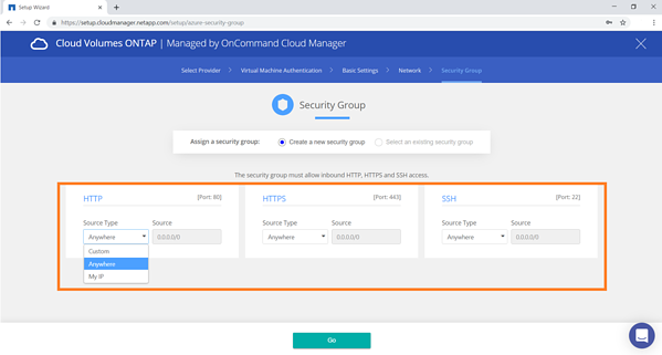 "Click on ""Go"" to create Cloud Manager in Azure."