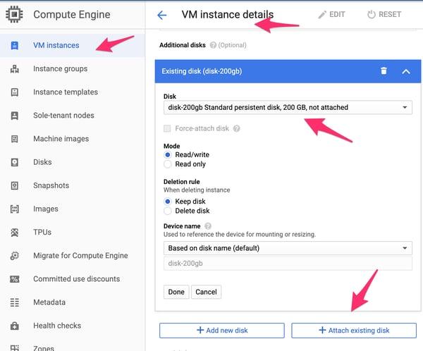 VM Instance configuration.