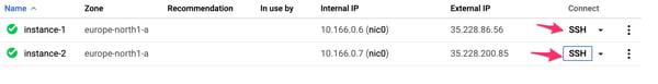 VM Instances list.
