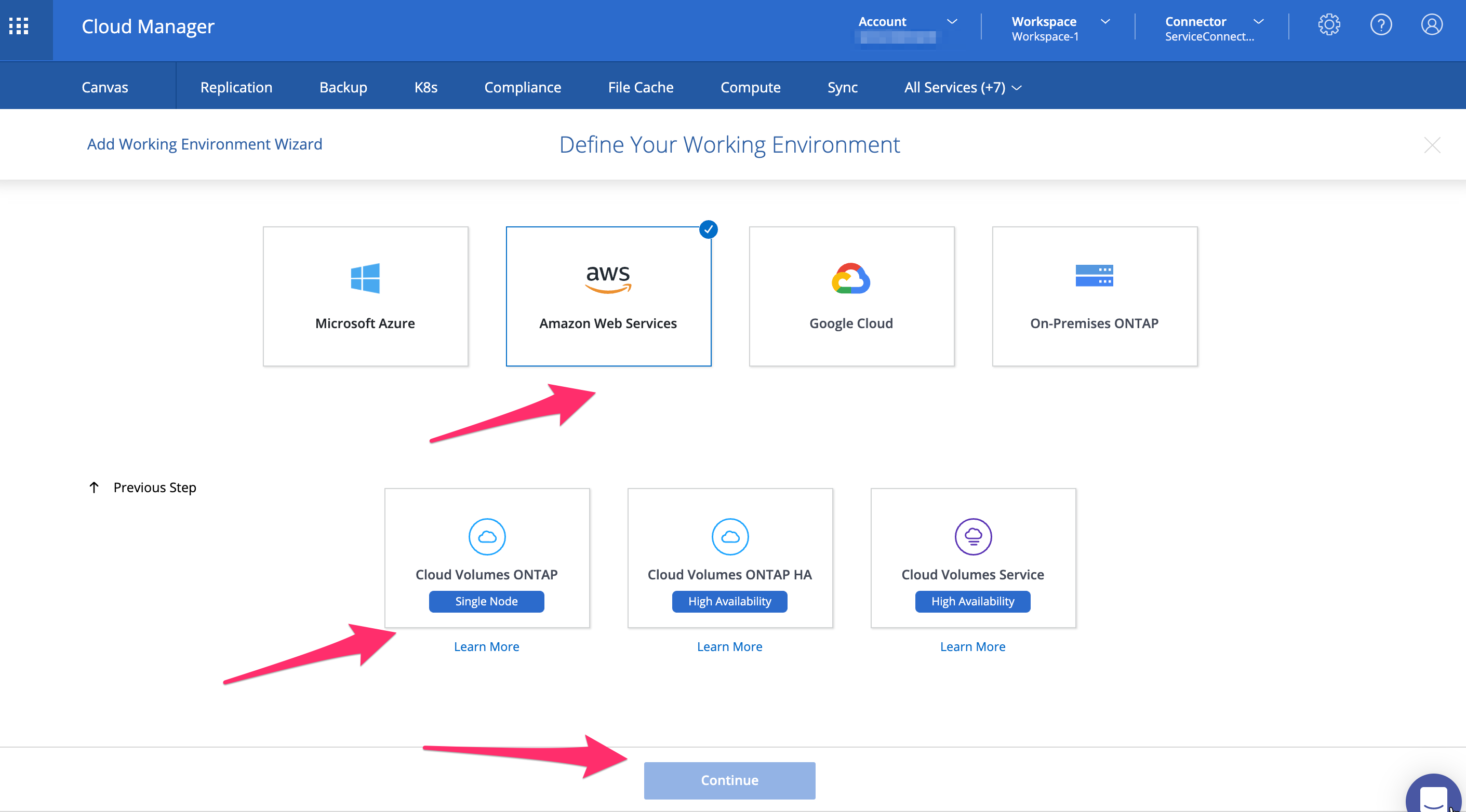 Creating a new environment and volume in NetApp Cloud Manager