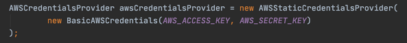 Code snippet to create an instance of the AWSCredentialsProvider class.