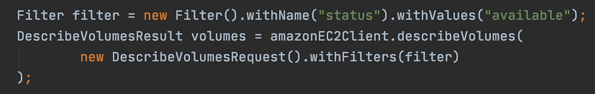 Code snippet to get the list of unused EBS volumes.