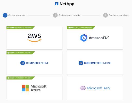 Choose a provider: AWS, ComputeEngine, Microsoft Azure, AmazonEKS, KubernetesEngine, Microsoft AKS