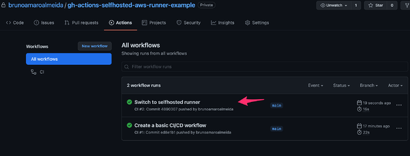 GitHub Actions workflow execution