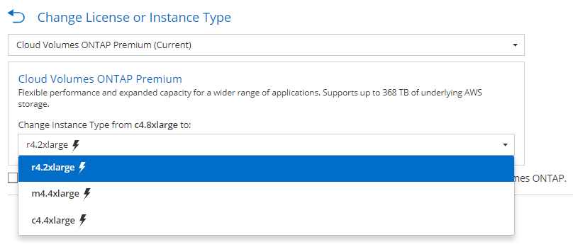 NetApp Cloud Volumes ONTAP Premium AWS Screenshot