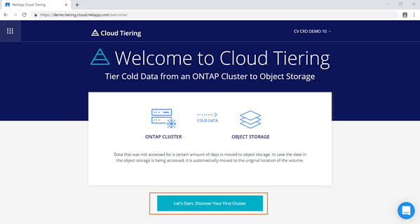 Cloud Tiering configuration page