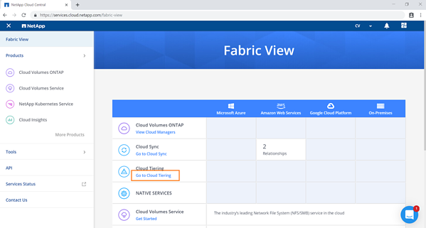 In Fabric View, select Cloud Tiering