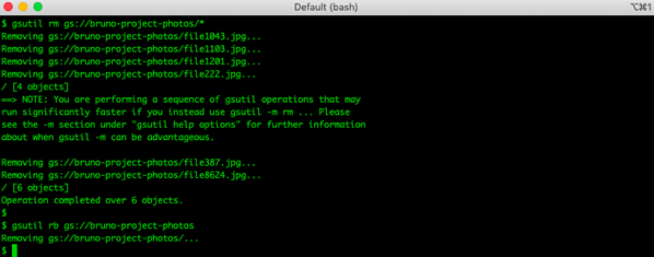 Removing files and bucket using gsutil
