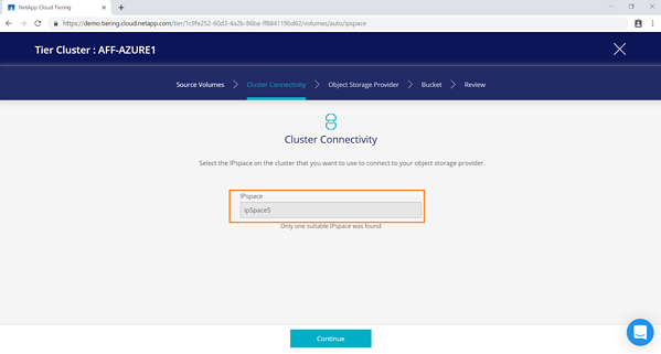 select the correct IPspace to ensure that Cloud Tiering can connect your on-premises ONTAP to Azure blob storage
