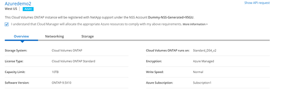 Review the configuration and approve that the Cloud Manager will provision the selected Azure resources on your behalf.