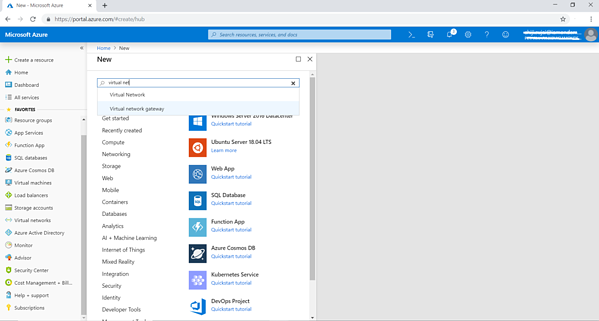 "In the Azure portal click on ""+Create a resource"" and search for ""Virtual network gateway"""