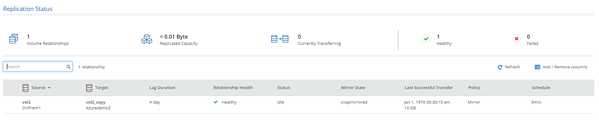 This view will show the source and target volumes, the relationship status, last copy, etc.