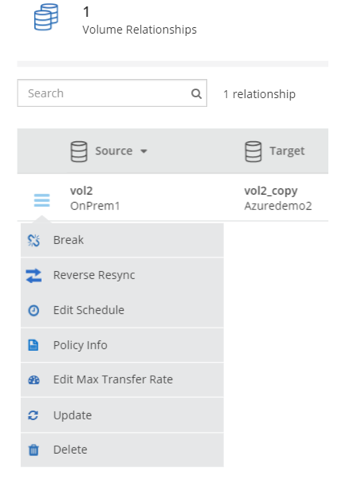 You can also manage replication configuration from the same view.