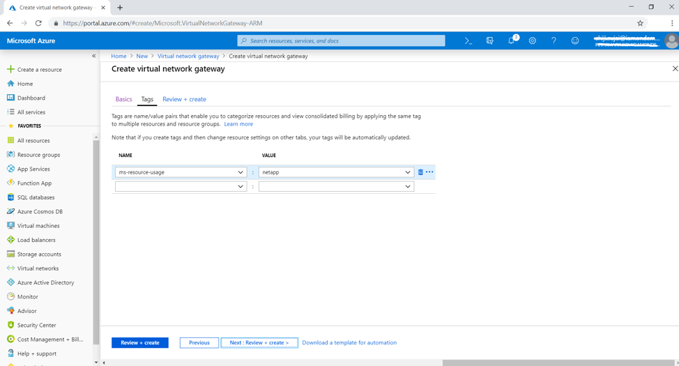 Add tags relevant to your Azure environment.