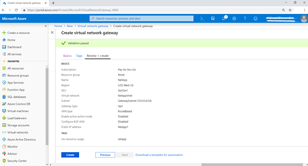 "Click on ""Create"" to create the Virtual Network Gateway"