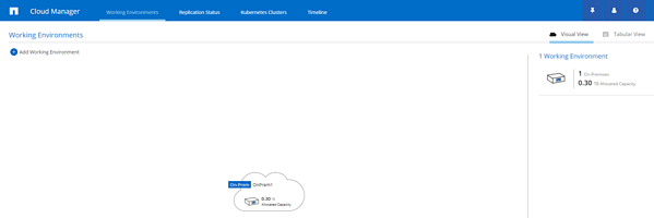 on-premises environment listed within Cloud Manager