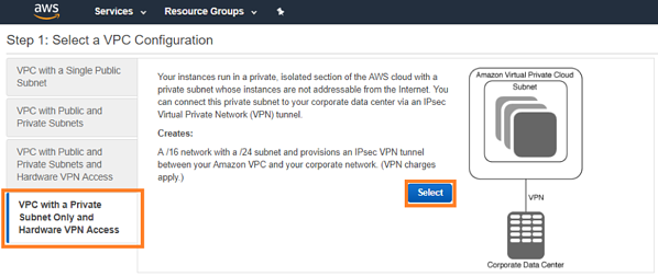Select a VPC Configuration