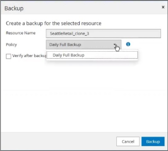 Creating a backup in SnapCenter.
