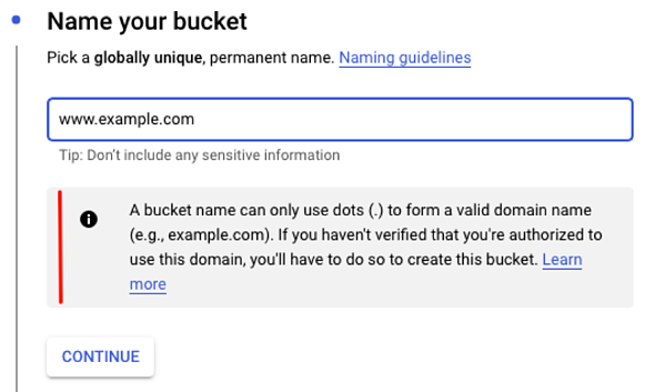 A bucket named as a custom domain requires verification