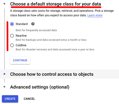 Choose a default storage class for your data