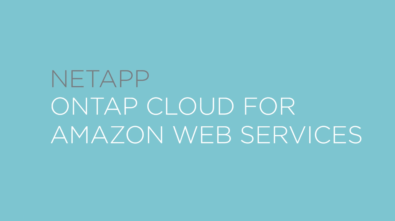 Cloud Volumes ONTAP on AWS  - Intro