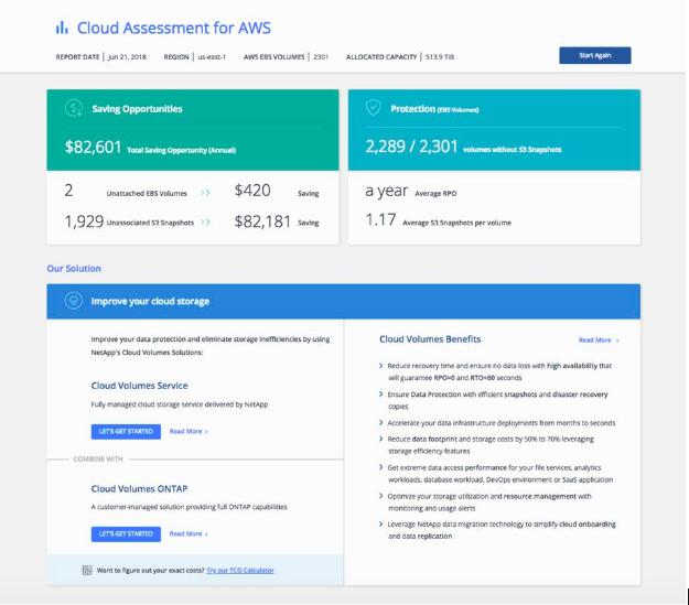 NetApp Cloud Assessment Results Screen