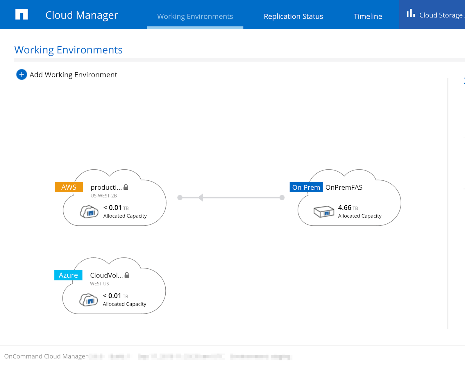 The Cloud Manager working environments dashboard