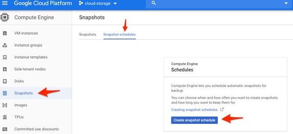 Snapshot schedules panel