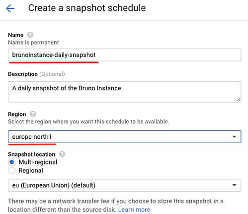 Snapshot schedule creation panel (name and region)