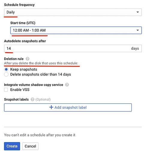 Snapshot schedule creation panel (frequency and retention)