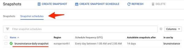 Snapshot schedules list panel