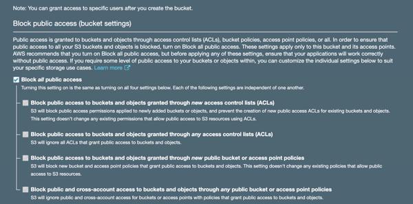 deselect public access