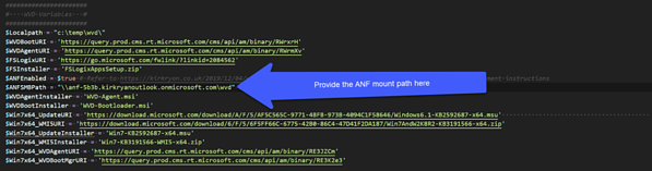Copy the path shown in the mount instructions of the Azure NetApp Files volume