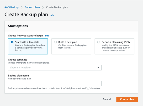 Start with a template under the 'Create Backup plan' window