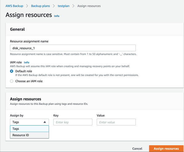 "Select ""resource-id"" in the assign resources section"